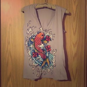 Koi Graphic V-neck Muscle T-shirt